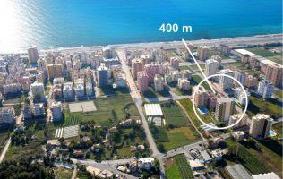 Большая квартира с 1 спальней в новом современном комплексе, в 400 м от моря, Махмутлар, Аланья