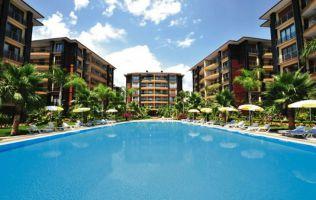Большая квартира с 2 спальнями в аренду, комплекс на берегу моря, центр Аланьи